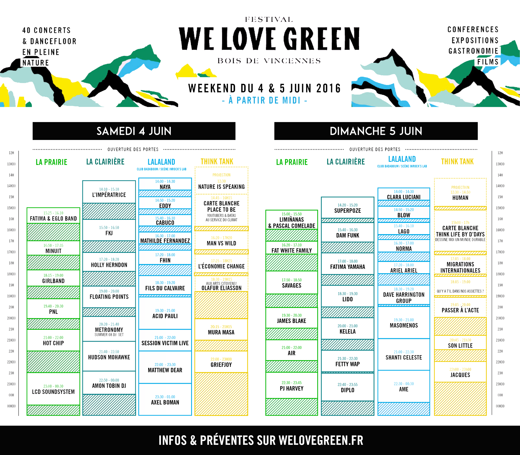 We Love Green 2016 - LINE UP & PROGRAMMATION - LCD Soundsystem - James Blake - PJ Harvey - Hot Chip - PNL - Mura Masa...